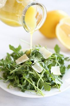 Arugula Salad with Lemon Vinaigrette You can make this homemade lemon vinaigrette dressing in just seconds. Pour, shake and toss!