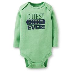 Coolest Nephew Bodysuit from Carter's. Your new nephew will love the bright color of this bodysuit. Match with 2-pack pants for an easy outfit.