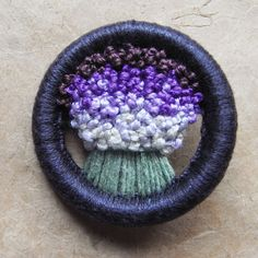 Handmade Vintage - look Flower Brooch, Made in a 1940s, 'Make Do and Mend' Style // Purple Fade