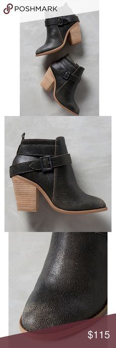 """Anthropologie Black Boots Anthropologie Kelsi Dagger Brooklyn Jordana Boot. Distressed black leather and a wrapped ankle strap. Laid back cool. Side zip closure. Leather upper. Leather insole. Synthetic sole. 4"""" stacked wood heel. Anthropologie Shoes Ankle Boots & Booties"""