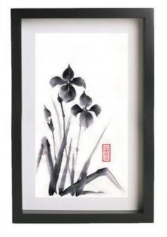 Original Sumie Brush Painting 2 irises  Japanese