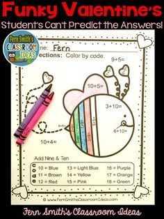 This St. Valentine's Day Addition Resource includes FIVE Color By Code No Prep Printables that can be used for your math center, small group, RTI pull out, seat work, substitute days or homework, answer keys included too! Perfect for Early Finishers and Advanced Kindergartners. These age appropriate lessons are a low prep, print and go resource that includes all color coded answer keys as well.