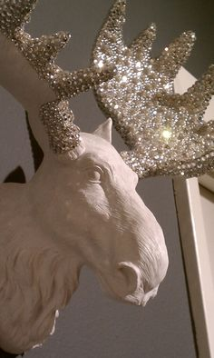 Faux taxidermy on Etsy! This gorgeous Moose with clear Swarovski crystals is sure to be a chic addition to the home or office. Not to mention, a great conversation piece!
