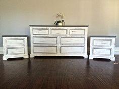 Shabby Chic Gray, White & Silver Leaf Bedroom Set - Custom Order for Pandora