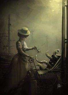 steampunktendencies: Little cthulhu by VilKo-yote Steampunk. Hp Lovecraft, Lovecraft Cthulhu, Dark Fantasy Art, Fantasy Artwork, Gothic Artwork, Arte Horror, Horror Art, Gothic Horror, Art Sinistre