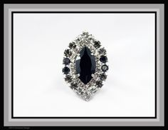 Classic Marquis Cocktail Ring features a large Swarovski Jet navette at the center with chaton surrounds in Crystal, Black Diamond and Jet - by Bryan Greenwood of Crystal Countess / Jewellery by Greenwood Design