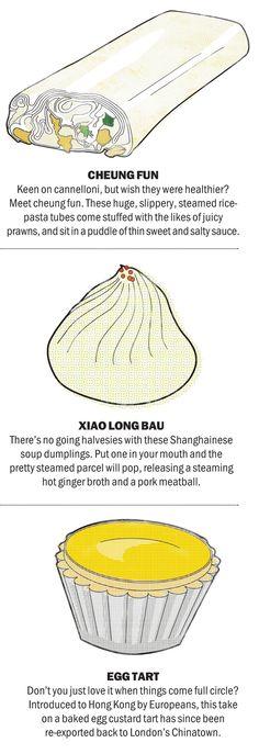dim sum: cheung fun, xiao long bau, egg tart