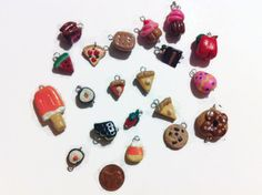 Assorted Food Charms, Polymer Clay Food Charms, Assorted Charms, Handmade Charms #Handmade #KawaiiCharm
