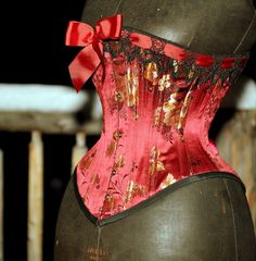 Red Silk Corset Handmade Lingerie Steel Boned от LaBelleFairy