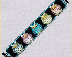Cat Eyes cuff bracelet pattern. 1-drop even by KWBdesignsjewelry