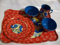Vintage Childs Tin Blue Bird Tea Set from Ohio Art