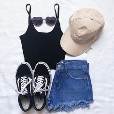 49 Cute Summer Outfits | @ngxcivy -- Ootd. Fashion Inspiration. black tank top, denim shorts, vans sneakers, cap, heart sunglasses. #summerfashion #summeroutfits