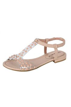 STUDDED T-STRAP CLEAR VAMP SANDALS