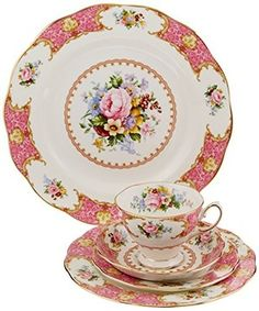 Royal Albert 15135002 Lady Carlyle Place Setting, Service for Diy Valentine's Ornaments, Teacup Crafts, Tea Cup Set, Tea Sets, Rococo Style, Tea Service, Valentine Decorations, Flatware Set, Royal Albert