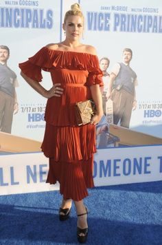 Splurge: Busy Philipps Vice Principals Premiere Self Portrait Off the Shoulder Flounce Dress