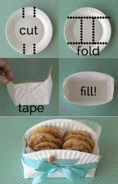 Paper plate cookie basket great for gift giving