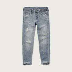 Abercrombie & Fitch Relax Straight Boyfriend Jeans ($30) ❤ liked on Polyvore featuring jeans, destroyed light wash, light wash boyfriend jeans, distressed boyfriend jeans, straight-leg jeans, relaxed fit boyfriend jeans and relaxed boyfriend jeans