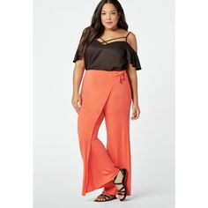 Justfab Trouser + Wide Leg Wrap Palazzo Pant ($35) ❤ liked on Polyvore featuring plus size women's fashion, plus size clothing, plus size pants, wide leg trousers, white trousers, white pants, palazzo pants and white palazzo pants