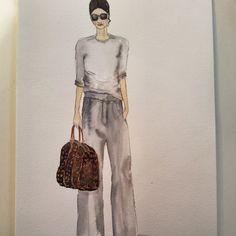 #instaart #streetfashion #watercolor #winsor&newton #fashionillustration #illustration #louisvuitton #bag #greyischic #doodle #drawingoftheday
