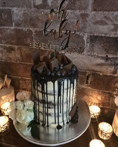Baby Shower Cake - White Chocolate Buttercream, White Chocolate Navy Ganache, Tim Tams, Blueberries