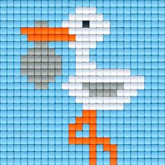 Ooievaar blauw | Pixel Party
