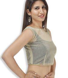 Buy Readymade Sleeveless blouse golden shimmer net embroidery  jkt sleeveless-blouse online