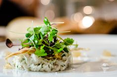 Fish tartar topped with clover garnishing