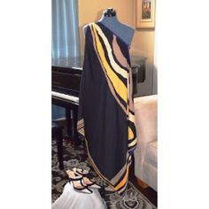 One shoulder dress Rachel Roy abstract scarf dress. Black, champagne, mocha, and canary yellow applied artistically on this dress. Rachel Roy Dresses One Shoulder