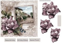 going to market card with decoupage on Craftsuprint designed by Angela Wake - going to market card with decoupage and sentiment tags - Now available for download!