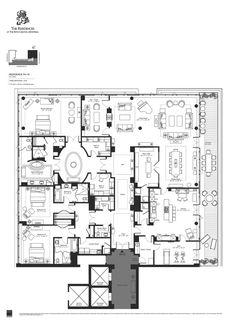 The Residences at the Ritz Carlton Montreal Residence Condo Floor Plans, Hotel Floor Plan, Apartment Floor Plans, House Layout Plans, House Layouts, Modern House Facades, New York Apartments, Villa Plan, Bungalow House Design