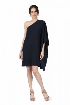 MARINO NAVY DRESS from Jay Godfrey. OUR TOP SELLING ONE SHOULDER KIMONO DRESS IN OUR SIGNATURE CREPE FABRIC. SIDE CLOSURE WITH ZIPPER AND HOOK AND EYE. $368