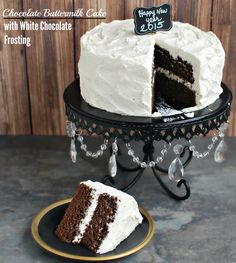 Easy to prepare scratch made chocolate buttermilk cake is topped with luscious white chocolate frosting. Great go-to cake recipe for even a beginner baker. Also, for a pan bake at 350 for minutes White Chocolate Frosting, Chocolate Desserts, Chocolate Cake, White Icing, Easy Baking Recipes, Cake Recipes, Dessert Recipes, Cake Icing, Cupcake Cakes