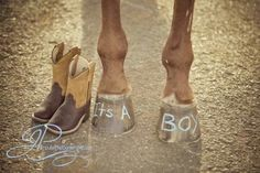 Baby announcement with horse hooves and boots By: Impulse Photography by nicole