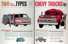 1961 Chevrolet Trucks original vintage advertisement. Features the rear engine Corvair panel van with side doors and the Corvair Rampside pickup truck with 4 foot wide ramp. Chevy heavyweight Series 70 Spartan with torsion-spring ride and V8 power. And a whole line of the most popular pickups with new, lower priced, long wheelbase 4 wheel drive models. See the greatest show on worth at your Chevrolet Dealer's.