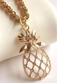 "Gold Crystal Pineapple Necklace Plated Pendant Island Hawaiian Beach 18"" USA #Unbranded #Pendant"