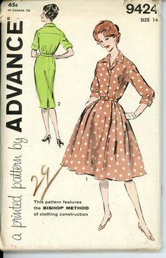 Advance 9424 Misses 1960s Shirt Waist Dress Pattern by CynicalGirl, $16.00