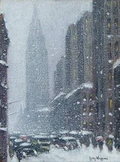 Wiggins, Guy C (b,1883)- Snowy Day Travel- Winter, NYC, II