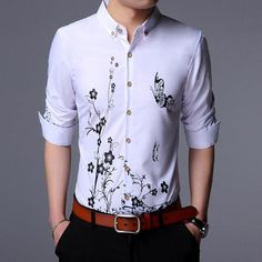Floral Mens Shirts Long Sleeve Cotton
