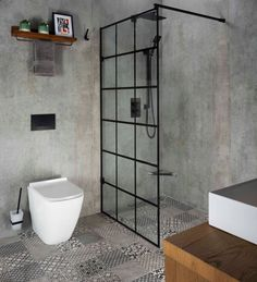 Get the most out of your wet room space with this single shower screen that's ideal for a smaller room. We're loving the concrete-effect walls and patterned flooring, creating a textured and industrial-style space worth lusting after. Small Bathroom Interior, Bathroom Design Small, Shower Panels, Shower Screens, Shower Tiles, Concrete Shower, Concrete Bathroom, Bathroom Faucets, Beautiful Bathrooms
