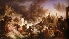 480 BC – Battle of Salamis: The Greek fleet under Themistocles defeats the Persian fleet under Xerxes I, 480 BC (painting by Wilhelm von Kaulbach, Ancient Rome, Ancient Greece, Ancient History, History Online, World History, Art History, Artemisia I Of Caria, Ahura Mazda, Xerxes I