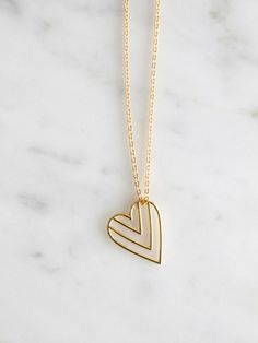 Chevron Heart Necklace | BRIKA - A Well-Crafted Life