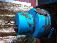 Teal roping cake