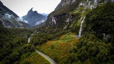 Milford Sound Highway, Fiordland, New Zealand Milford Sound, New Zealand, National Parks, Country Roads, Mountains, World, Travel, Viajes, Traveling