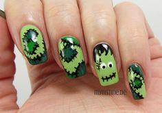 Frankenstein's Monster Nails mit Upper Green Side (ESSENCE, Colour & Go Nail Polish)
