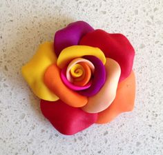 polymer clay multi color rose