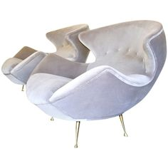 Rare and Exquisite pair of Vintage Sculptural Lounge Chairs. c.1950's | From a unique collection of antique and modern lounge chairs at http://www.1stdibs.com/furniture/seating/lounge-chairs/