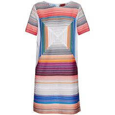 Missoni Square stripe-knit shift dress ($846) ❤ liked on Polyvore featuring dresses, grey stripe, grey dress, stripe dress, grey stripe dress, jewel tone dresses and stripe knit dress