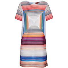 Missoni Square stripe-knit shift dress ($846) ❤ liked on Polyvore featuring dresses, grey stripe, grey dress, stripe dress, grey stripe dress, jewel tone dresses and stripe knit dress