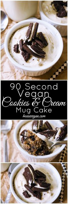 90 Second Vegan Cookies and Cream Mug Cake - A delicious cake made in 90 seconds! This dairy-free and vegan microwave cake comes together in less than 5 minutes, but it certainly doesn't taste like it (Chocolate Muffins In A Mug) Healthy Cookie Recipes, Mug Recipes, Easy Cake Recipes, Dairy Free Recipes, Vegan Recipes, Dessert Recipes, Dessert Ideas, Recipies, Gluten Free