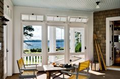 """Three season porch"" on the lake in Maine. Whitten Architects."